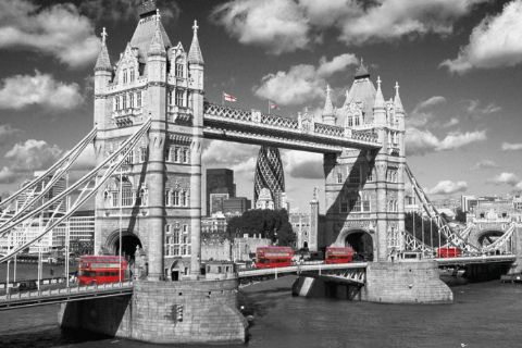 黑白伦敦塔桥图片